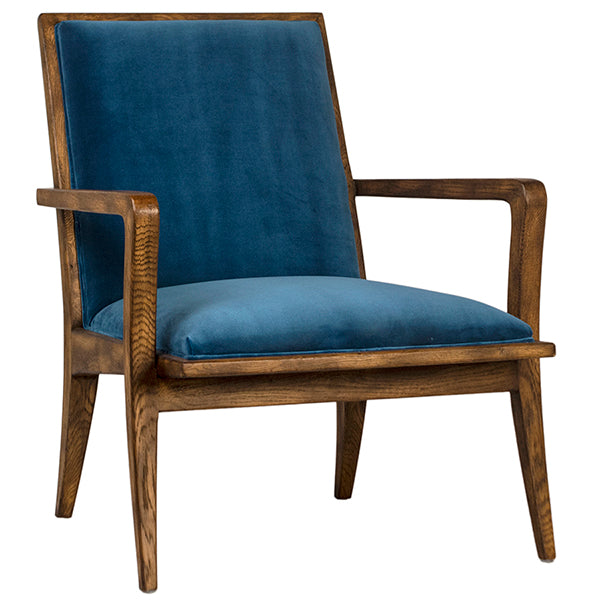 navy-blue-fabric-oak-wood-frame-arm-chair
