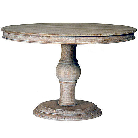 47 Inch Sawn Top Rustic Dining Table From Blond Indian Hardwood in Sealed Gray Finish