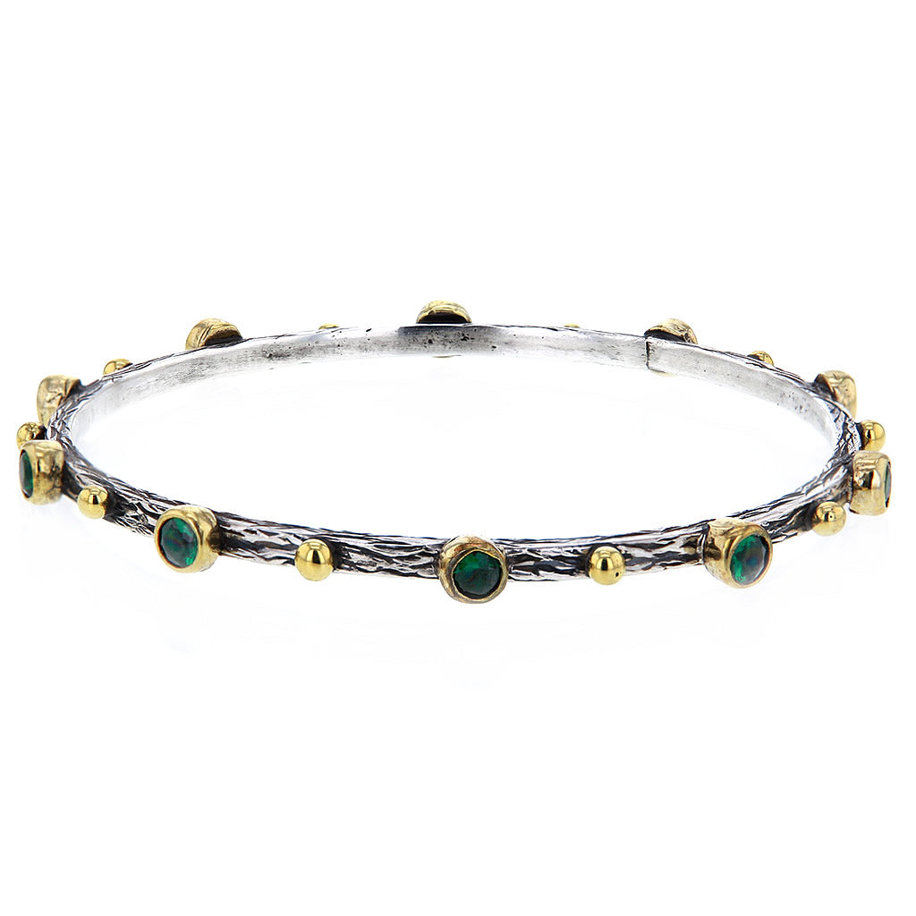 Hammered Sterling Silver Gold Plate and Green Emerald Bangle by Bora