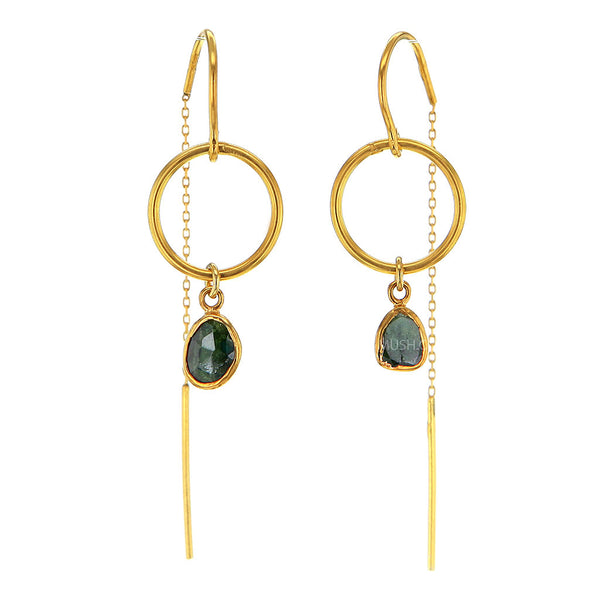 Organic Shaped Emerald Earrings in 14K Gold Plated Sterling Silver