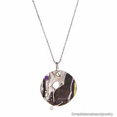 Coralli Italian Designer Necklace in Hammered Silver, 14k Gold & Amethyst