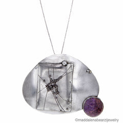 Abisso in Viola Italian Designer Necklace in Sterling Silver & Rare Charoite Gemstone