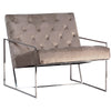Fabiano Modern Tufted White Poly Damask Arm Chair and Brass Tube Frame