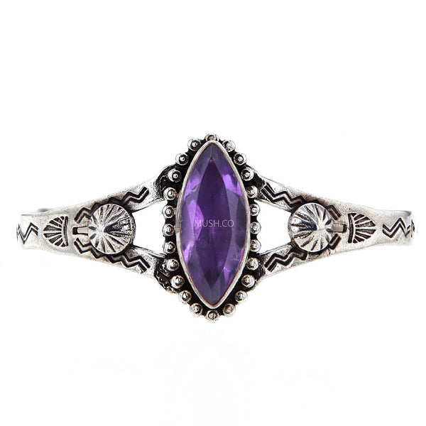 Navajo Style Sterling Silver Bracelet with Faceted Amethyst