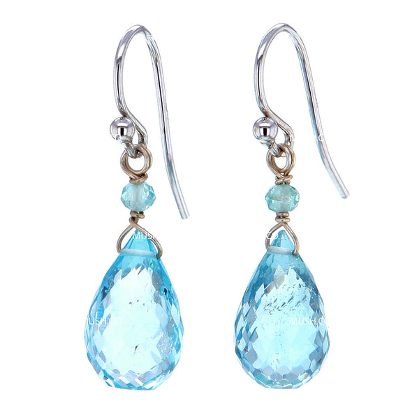 Faceted Blue Topaz Crystal Chandelier Cut Earrings