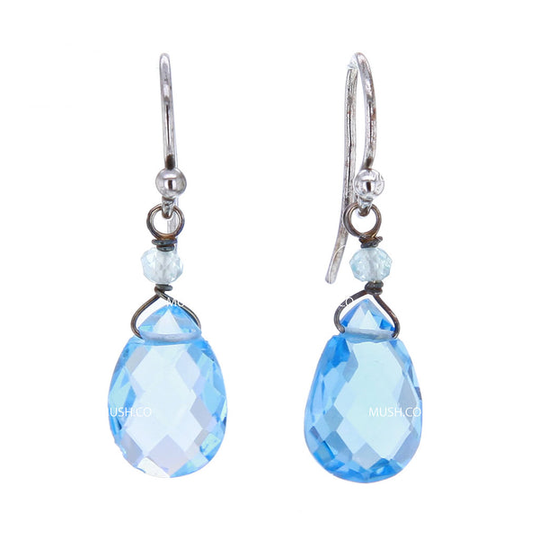 Petite Faceted Blue Topaz Crystal Earrings