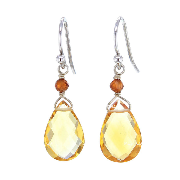Faceted Citrine & Carnelian Crystal Teardrop Earrings
