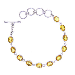Faceted AAA Citrine Link Bracelet in Sterling Silver