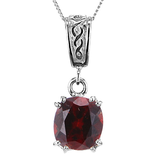 Garnet Pendant Necklace in Sterling Silver