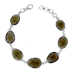 Organic Faceted AAA Smoky Qartz Link Bracelet in Sterling Silver