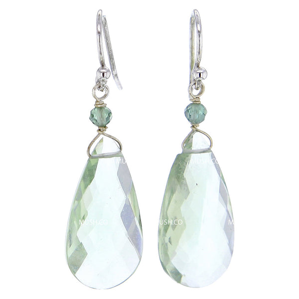 Faceted Green Amethyst Prasiolite Crystal Drop Earrings