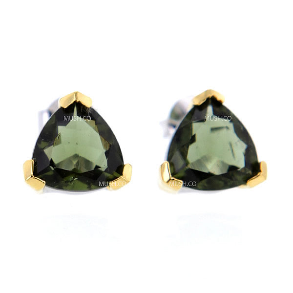 Triangle Moldavite Stud Earrings in Sterling Silver