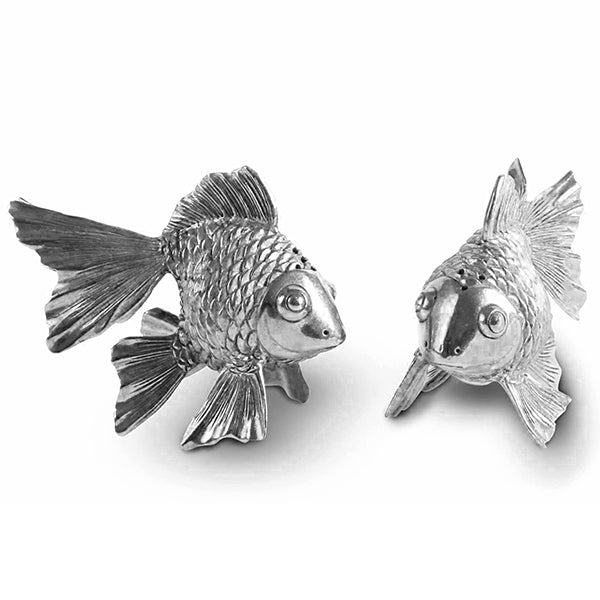 Fish Salt & Pepper Shaker Pair From Sterling Silver Pewter Hollywood