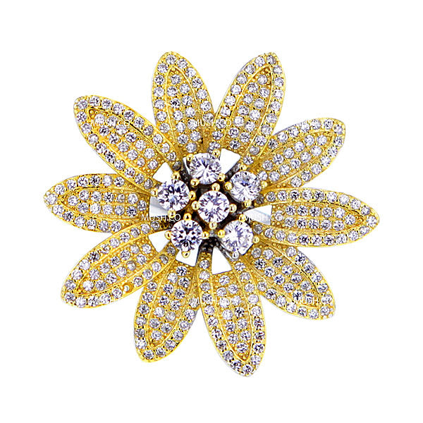 Dasy Flower CZ and Citrine Studded Ornate Sterling Silver Ring Hollywood