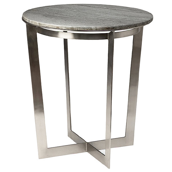 Ronnie Gray Marble Top and Brushed Nickel Modern Side Table Hollywood