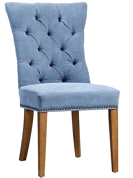 Frankie Fabric Damask Tufted Side Chair in Cyan