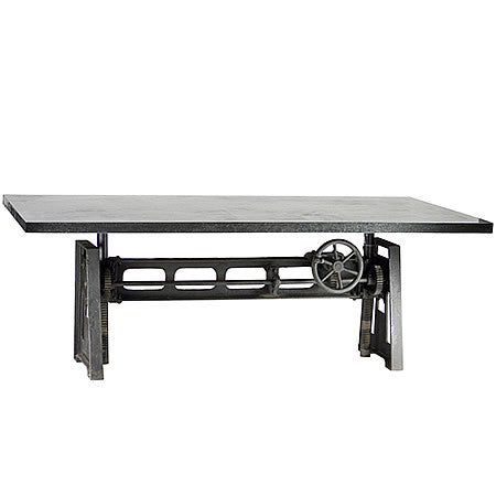 84 inch Rectangular Industrial Dining Pub Table with Cast Iron Base Crank and Adjustable Height in Gun Metal Finish