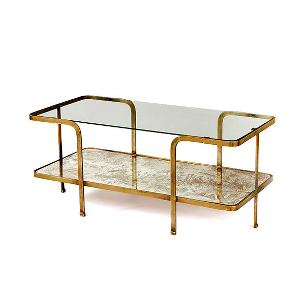 Antiqued Mirror and Glass Coffee Table with Brushed Goldtone Frame