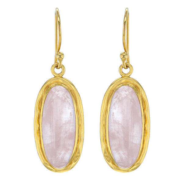 14K Gold Plated Rose Quartz Earrings Hollywood