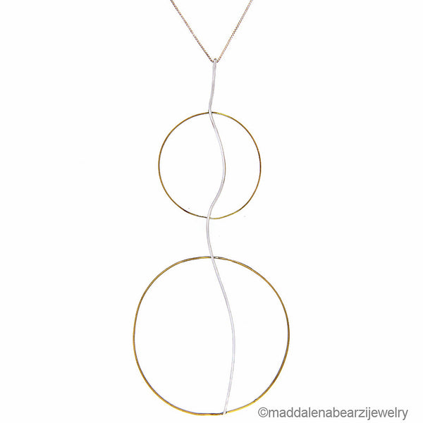 Onda Doppia Italian Designer Necklace in Hammered Silver & Brass