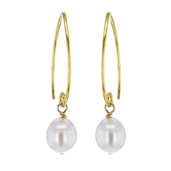 Mother of Pearl and Gold Filled Sterling Silver Earrings