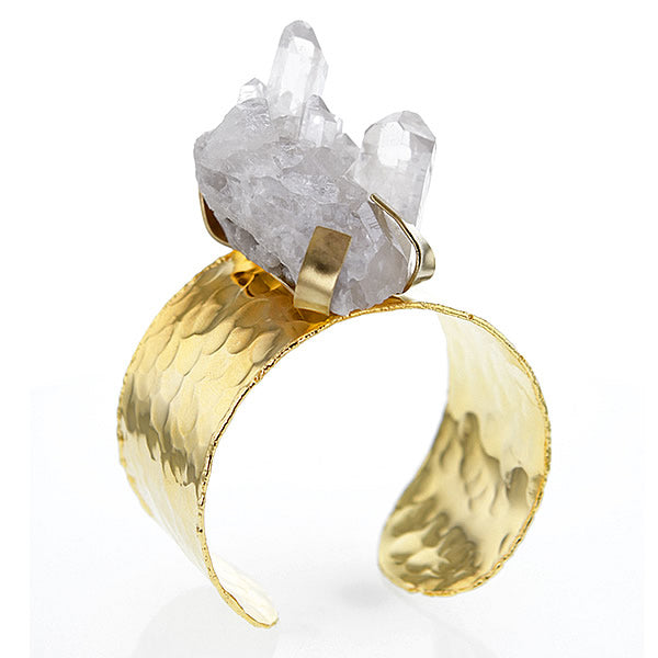 Chunky Quartz Crystal on Gold Plated Brass Cuff Bracelet - v2