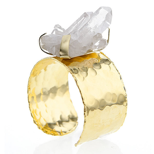 Chunky Quartz Crystal on Gold Plated Brass Cuff Bracelet