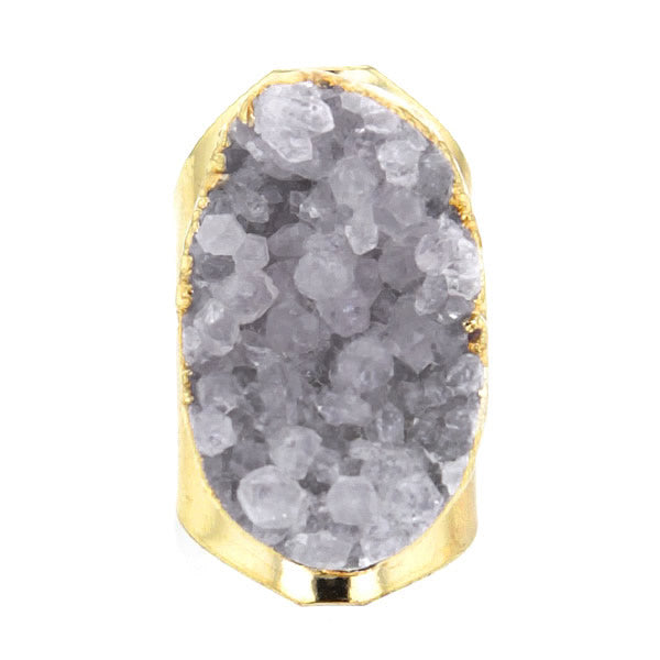 Gold Plated Brass Ring with Chunky Quartz Crystal Druzy Geode