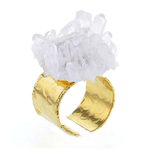Chunky Quartz Crystal on Gold Plated Brass Ring Hollywood