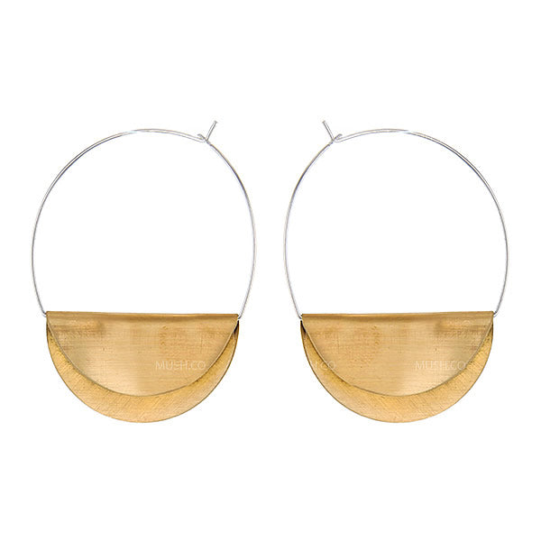Cool Momma Sterling Silver and Brass Turnover Hoop Earrings