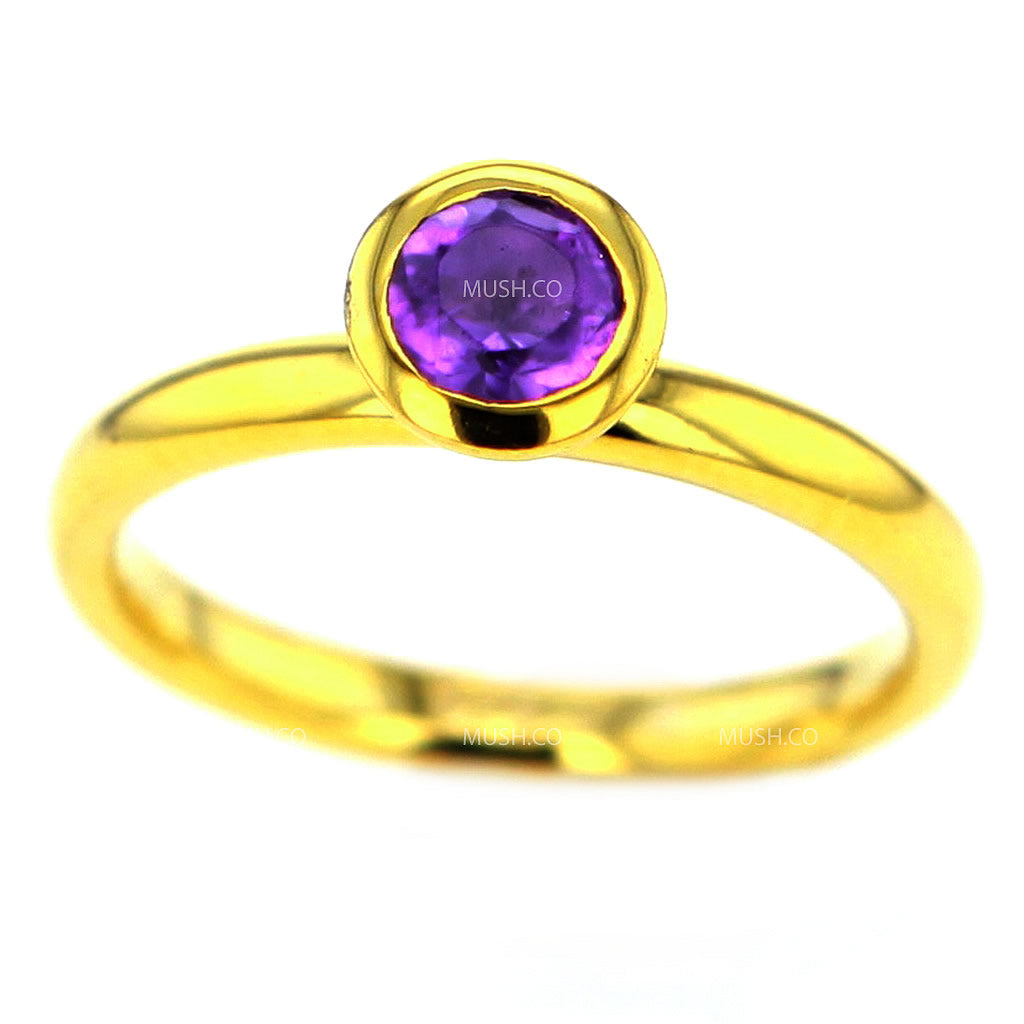14K Gold Plated Sterling Silver Ring with Round Amethyst Crystal Size 7