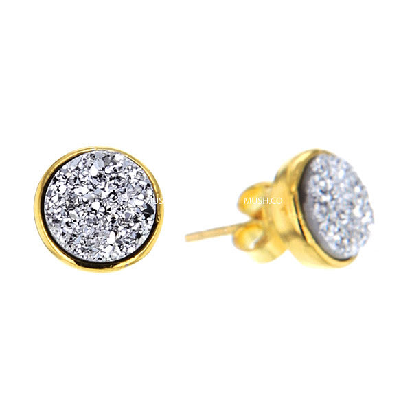Opal Druzy Crystal Gold Plated Sterling Silver Stud Earrings