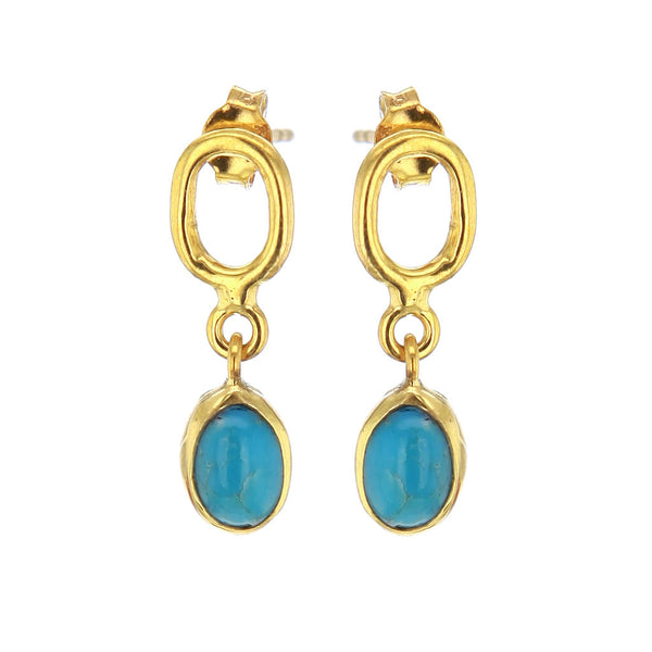 Discreet Gold Plated Turquoise Earrings