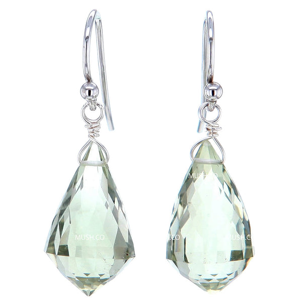Faceted Green Amethyst Prasiolite Crystal Chandelier Cut Earrings