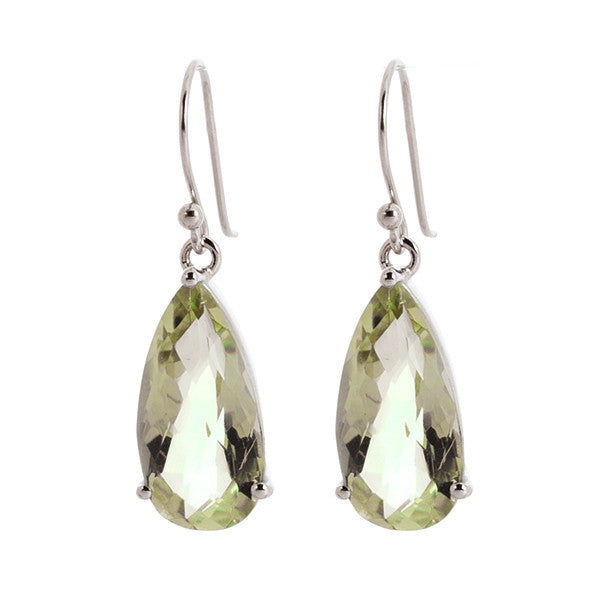 Faceted Green Amethyst Drop Sterling Silver Earrings