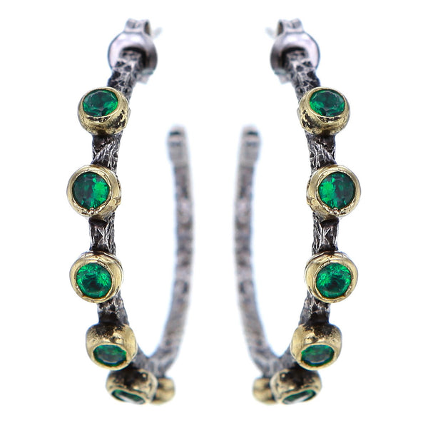 Hammered Sterling Silver Gold Plate and Green Emerald Hoops by Bora
