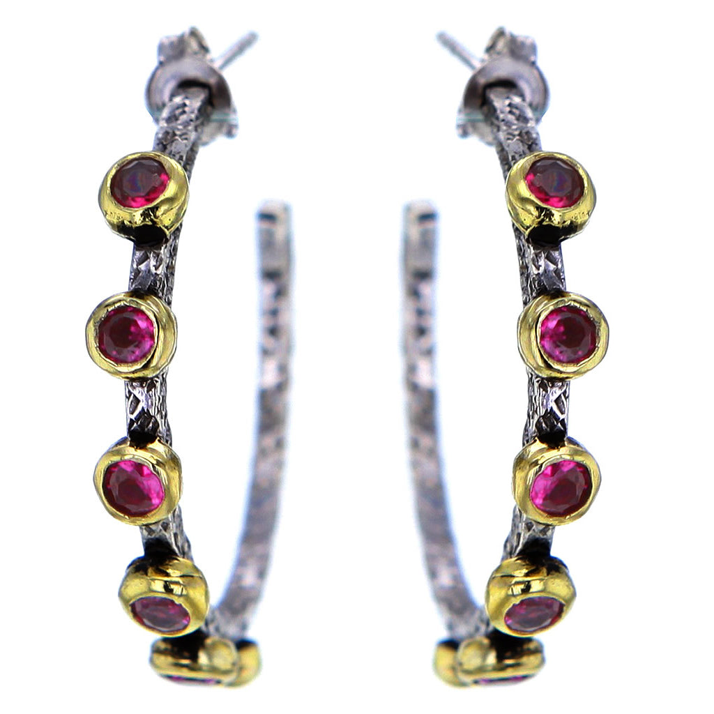 Hammered Sterling Silver Gold Plate and Ruby Hoops by Bora