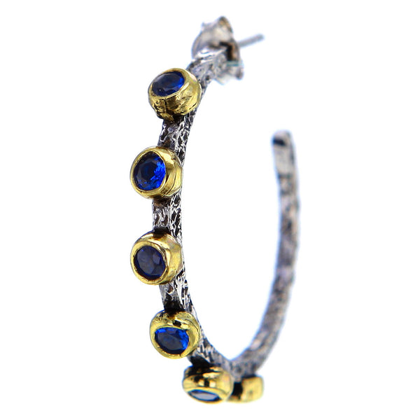 Hammered Sterling Silver Gold Plate and Blue Sapphire Hoops by Bora
