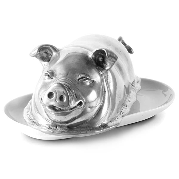 Piggie Butter Dish in Sterling Silver Pewter Hollywood