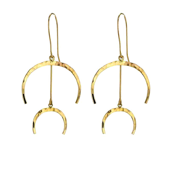 14K Gold Fill Double Lunar Earrings
