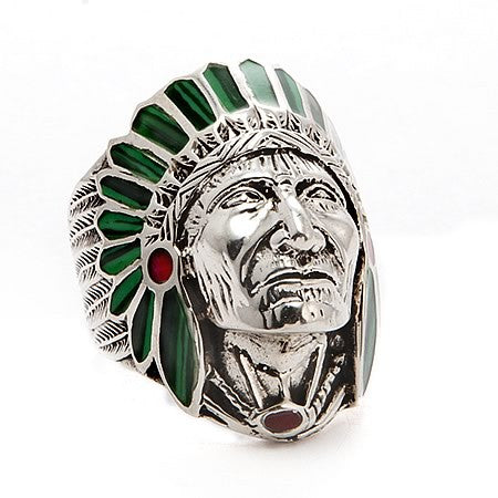 Native American Indian Chief Head Sterling Silver Ring in Malachite Headdress and Red Coral Accent