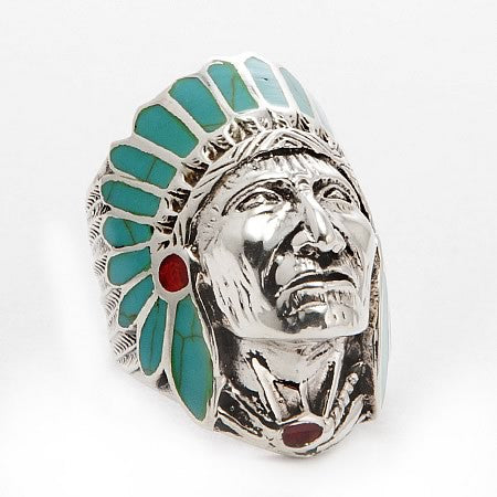 Native American Indian Chief Head Sterling Silver Ring Turquoise Headdress and Red Coral Accent