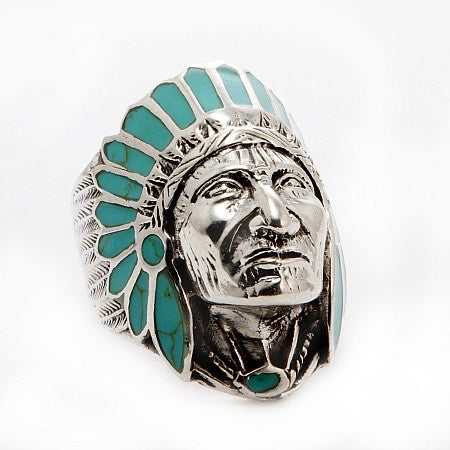 Native American Indian Chief Head Sterling Silver Ring in Turquoise Headdress Hollywood