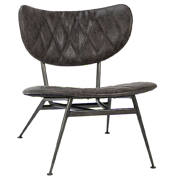 West Side Tufted Designer Leather Lounge Chair in Distressed Metal Finish
