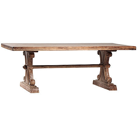 Large Extendable Italian Dining Table From Blond Indian Hardwood in Sienna Finish