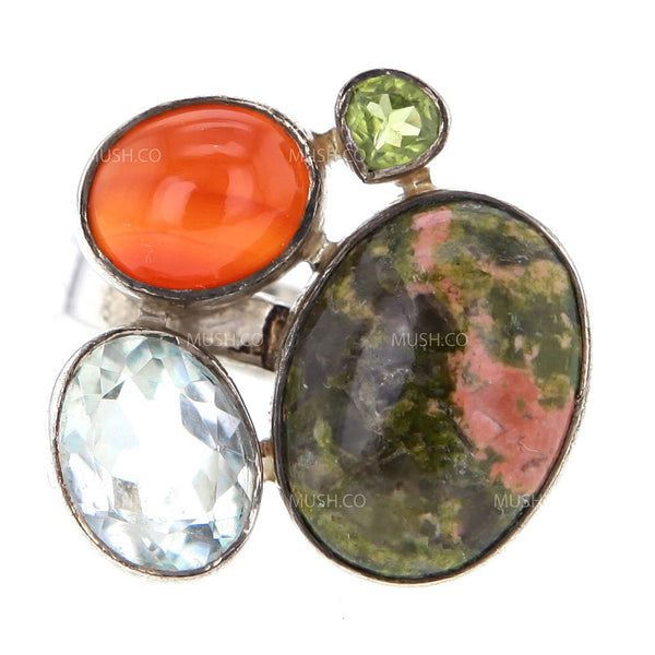 Adjustable Jasper Aquamarine Carnelian & Emerald Sterling Silver Ring