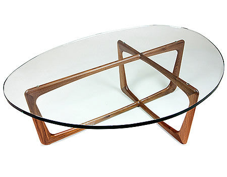 Karl Coffee Table with Walnut Base and Glass top in midcentury Modern Style