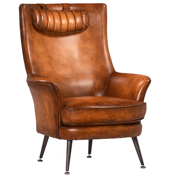 Kline Antiqued Leather Wing Armchair
