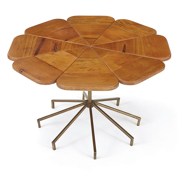 Knowl Wood Petal CoffeeTable with Brass Colored Iron Base in the Style of Richard Schultz
