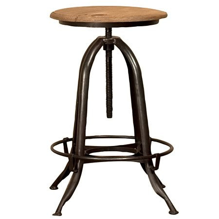 Industrial Steel Bar Stool with Adjustable Top in Gun Metal Finish